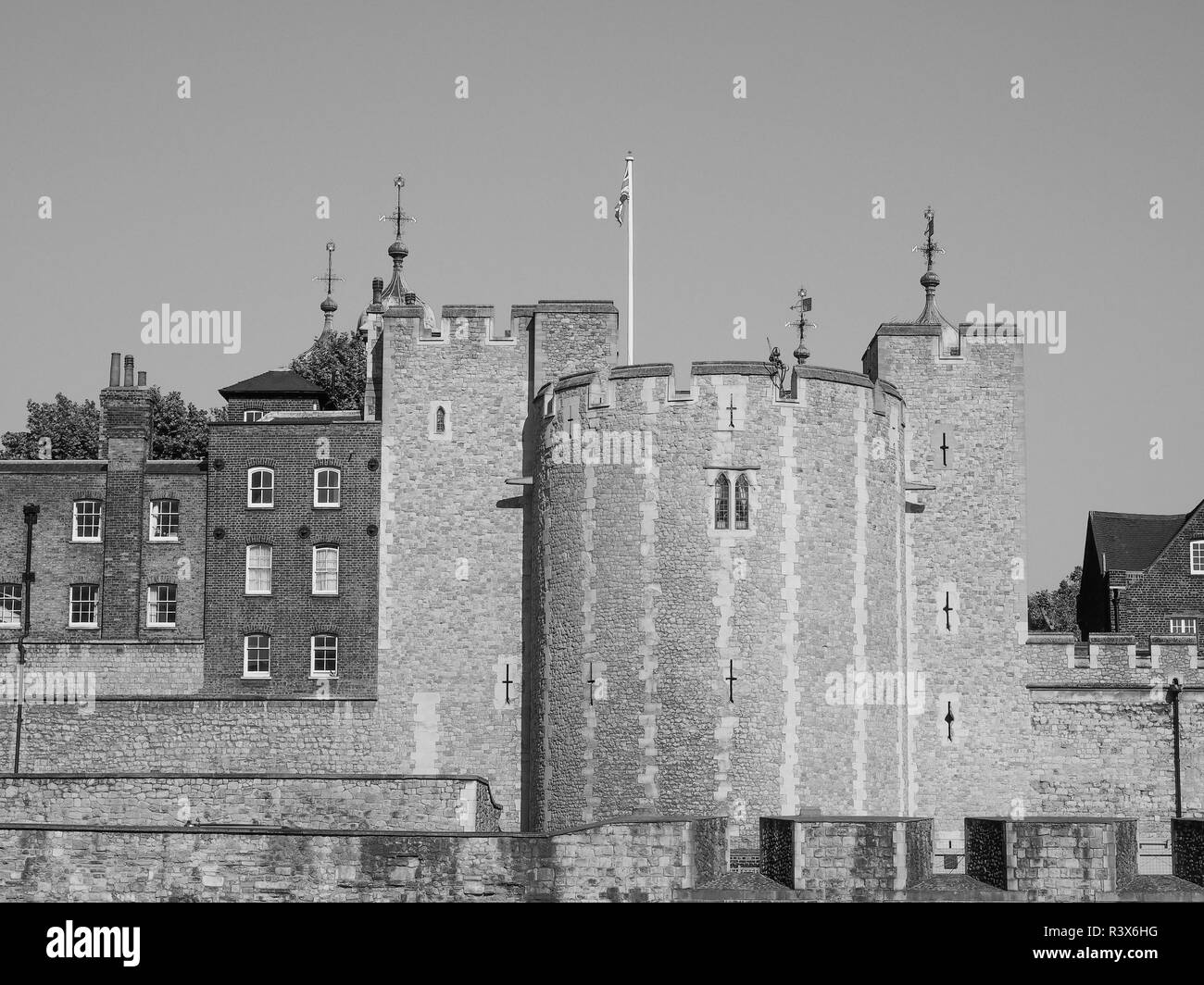 Black and white Tower of London - Stock Image