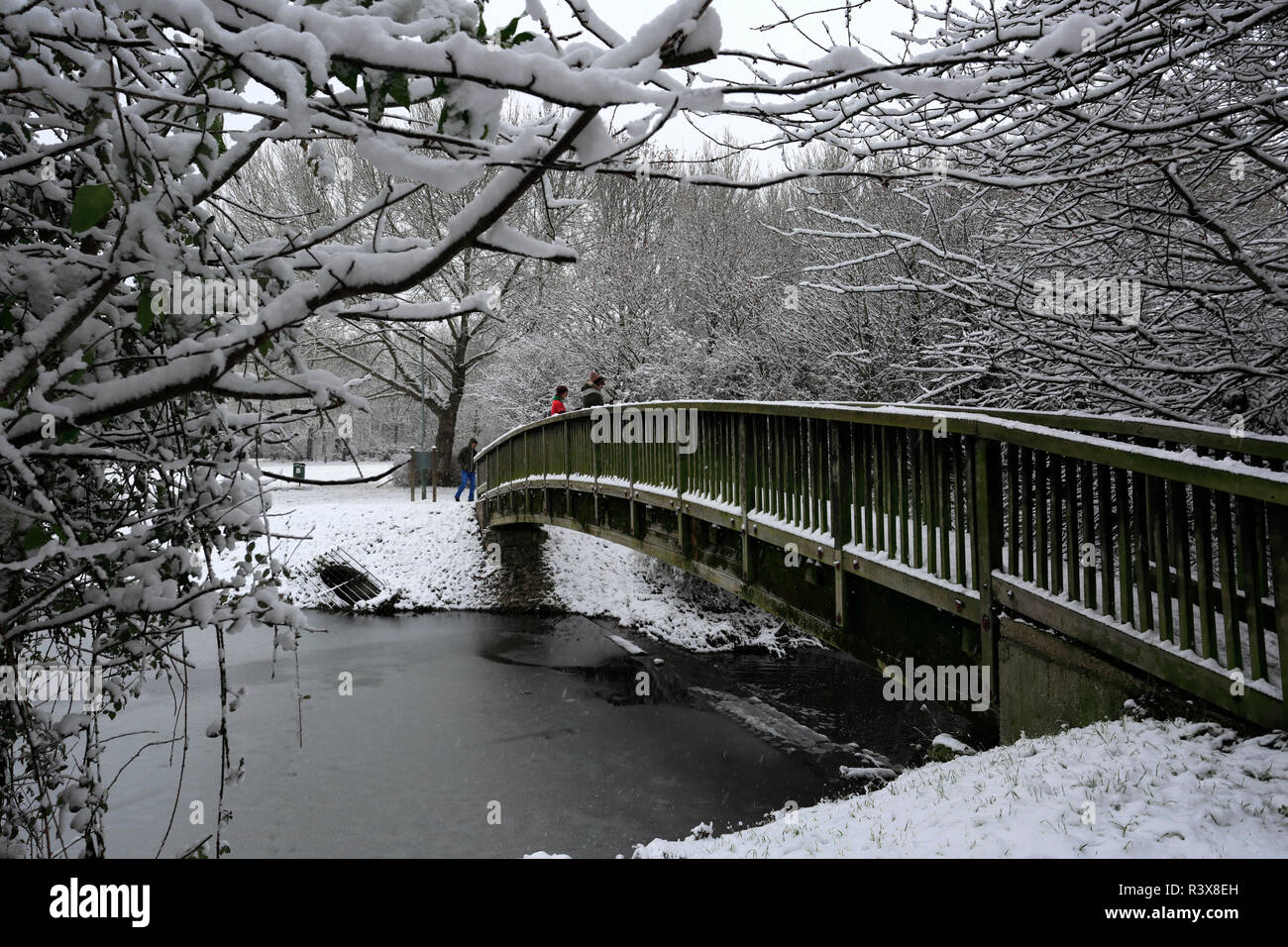 Snow at Cuckoos Hollow lakeside, Werrington Village, Cambridgeshire, England, UK - Stock Image