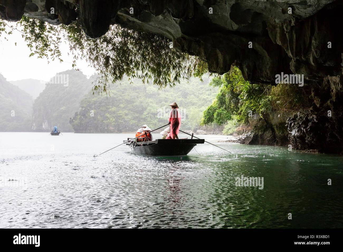 Cave visit Halong Bay, North Vietnam - Stock Image