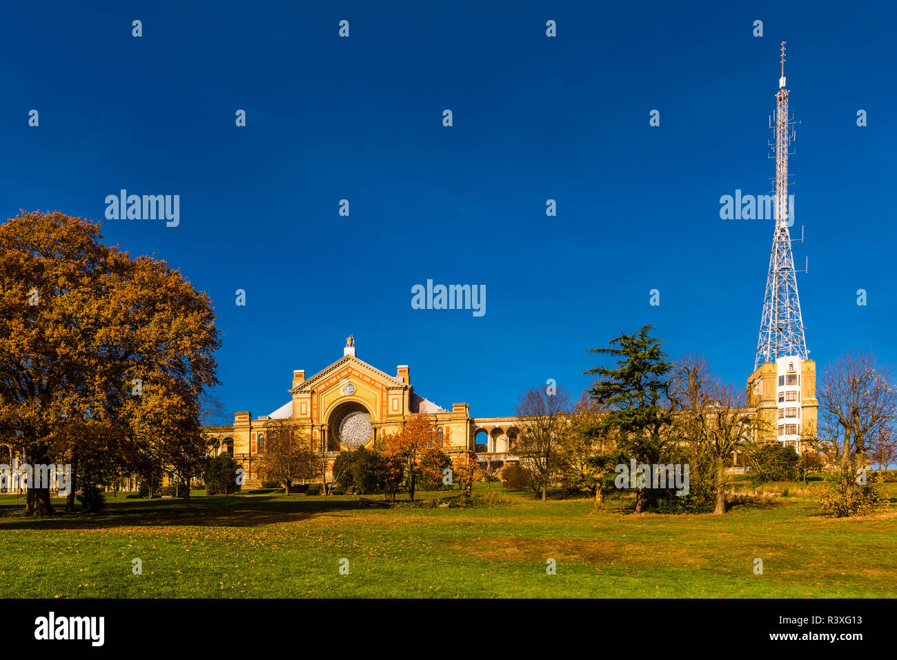 Autumn morning at the southern facade of Alexandra Palace, London, UK - Stock Image