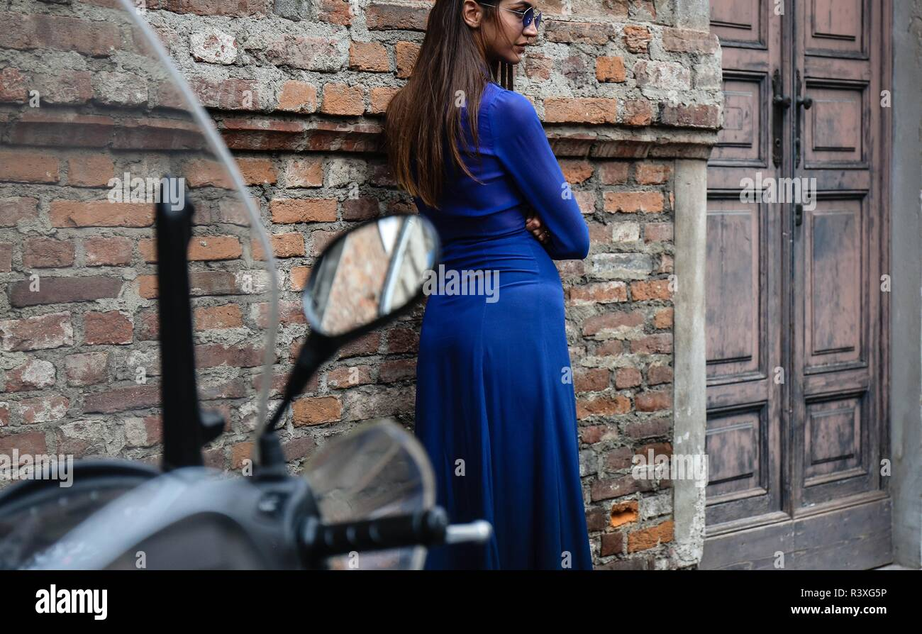 MILAN, Italy- September 21 2018: Sara Rossetto on the street during the Milan Fashion Week. Stock Photo