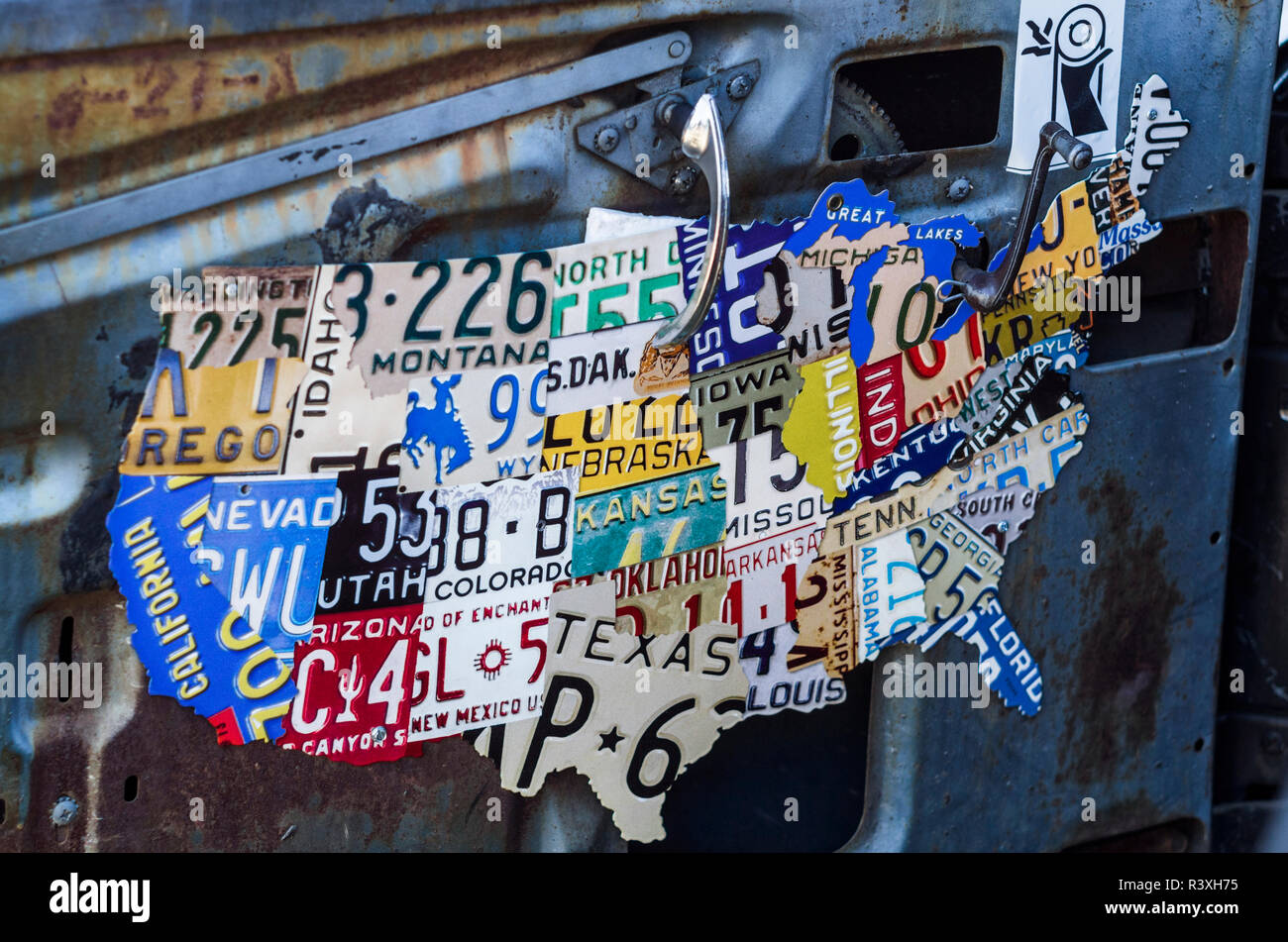 Us Map Made Out Of License Plates.1950s Car Interior With Us Map Made Of License Plates Stock Photos