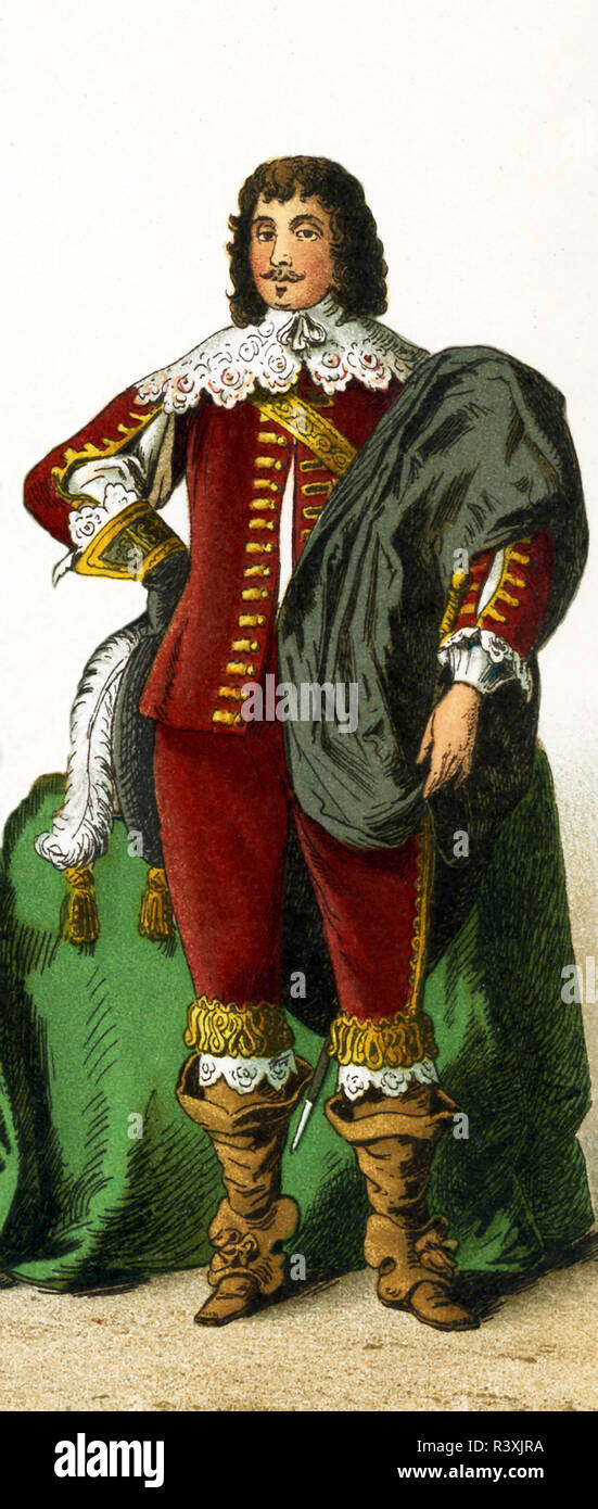 The figure represented here is an English nobleman from the 1600s, the time of Charles I.  Charles I was king of England, Scotland, and Ireland from 1625 until his execution in 1649. He was a Stuart and the second son of James VI of Scotland. The illustration dates to 1882. - Stock Image