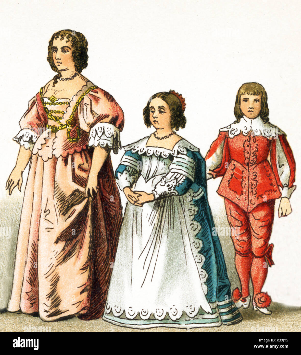 The figures represented here are all English people from the 1600s. They are, from left to right: Henrietta Maria, Consort of Charles I, daughter of Charles I, son of Charles I. Charles I was king of England, Scotland, and Ireland from 1625 until his execution in 1649. He was a Stuart and the second son of James VI of Scotland. The illustration dates to 1882. - Stock Image