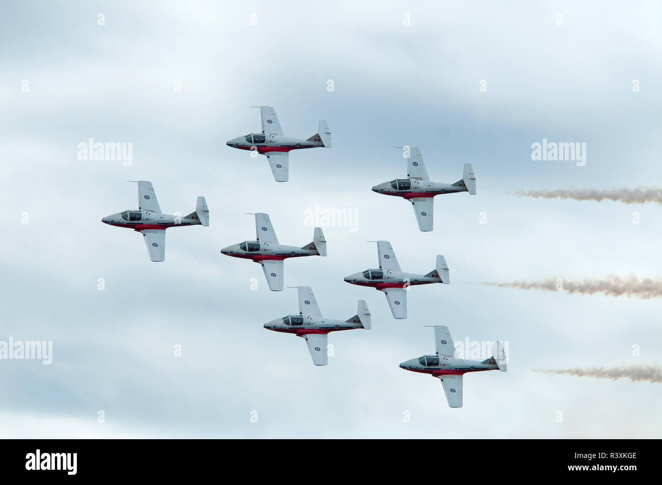 The 431 Air Demonstration Squadron of th Royal Canadian Airforce during a practice training day at their home base at Stock Photo