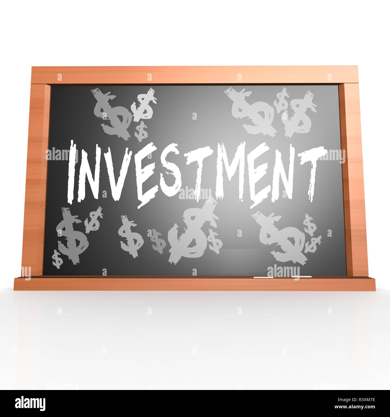 Bllack board with investment word - Stock Image