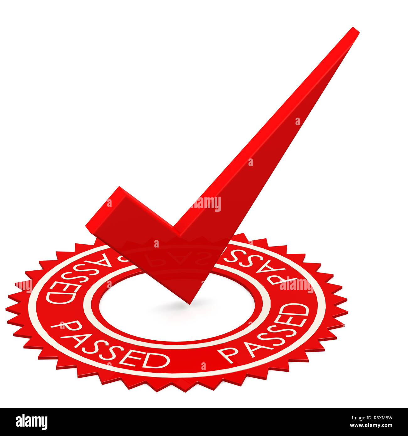 Passed word with red tick in middle - Stock Image