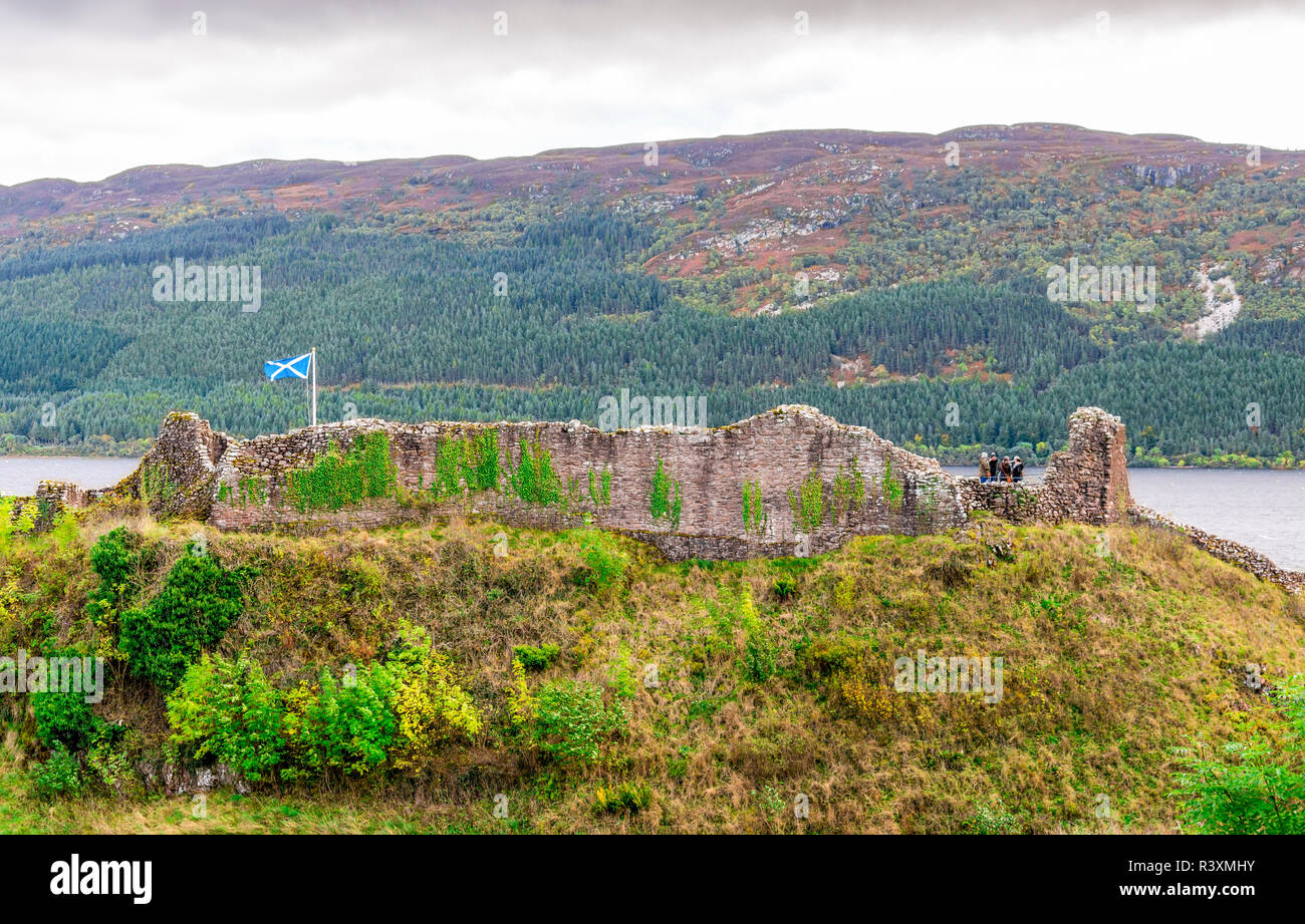Remains of the stonewalls in Urquhart Castle at the shores of Loch Ness near Inverness in Scottish Highlands. - Stock Image