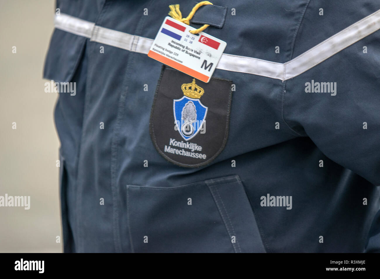 Front Side Jacket Koninklijke Marechaussee At Amsterdam The Netherlands 2018 - Stock Image