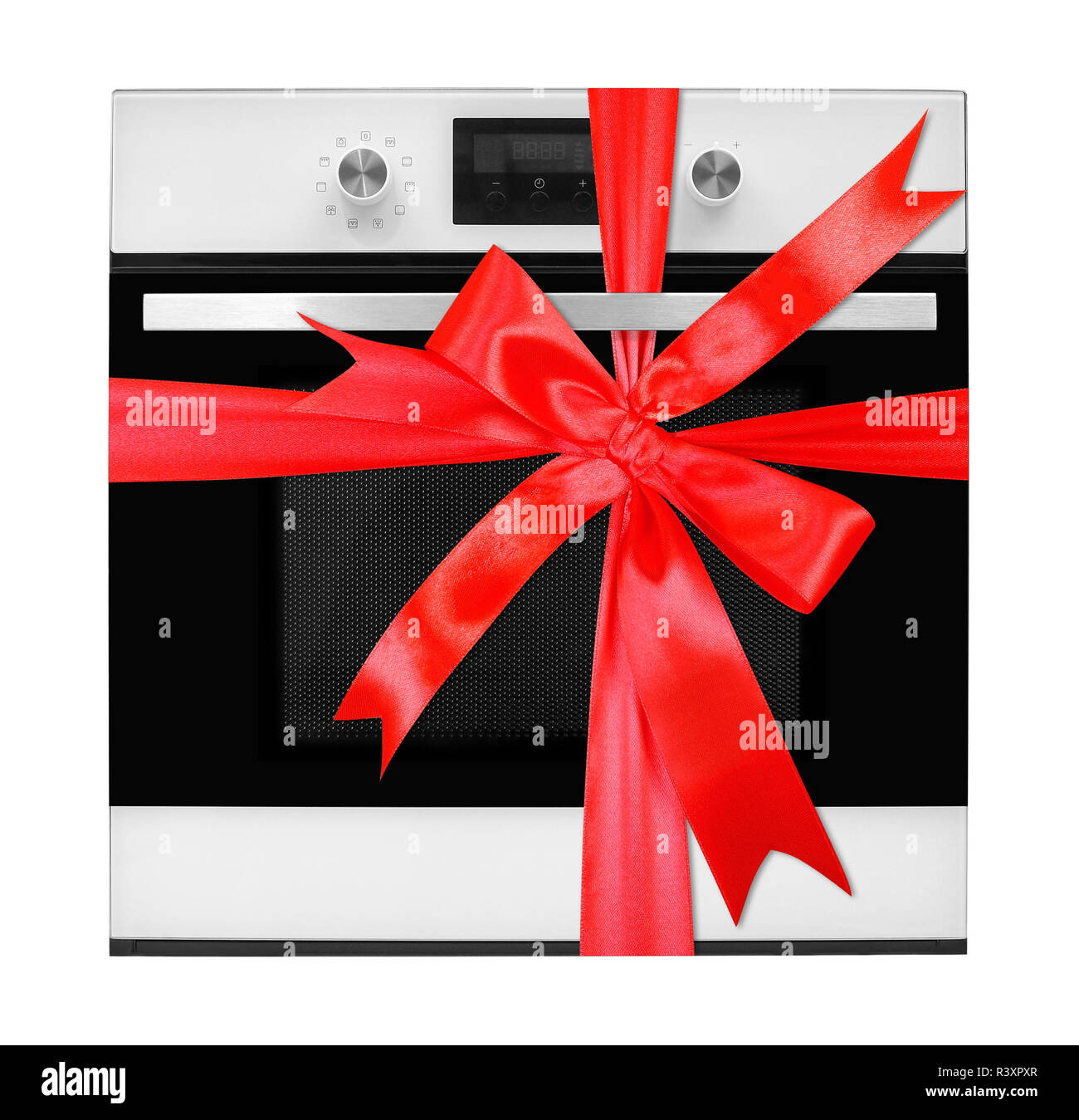 The electric oven gift tied red bow on a white background. It is isolated, the worker of paths is present. Stock Photo