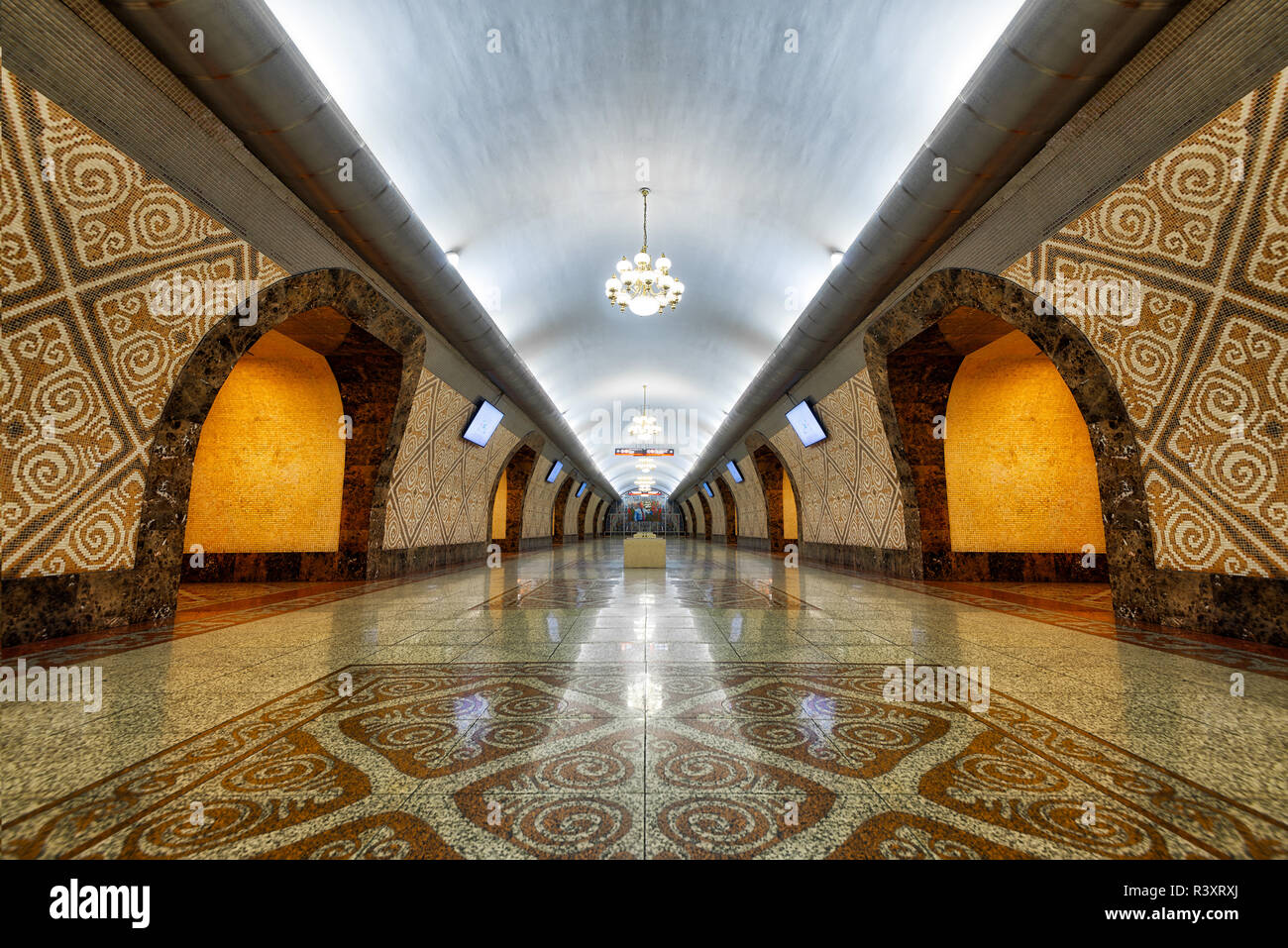 Metro Station in Almaty, Kazakhstan, taken in August 2018 taken in hdr - Stock Image