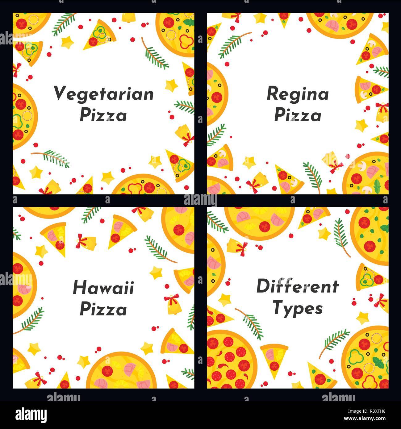 Set Of Square Frames Different Types Of Christmas Pizza Background