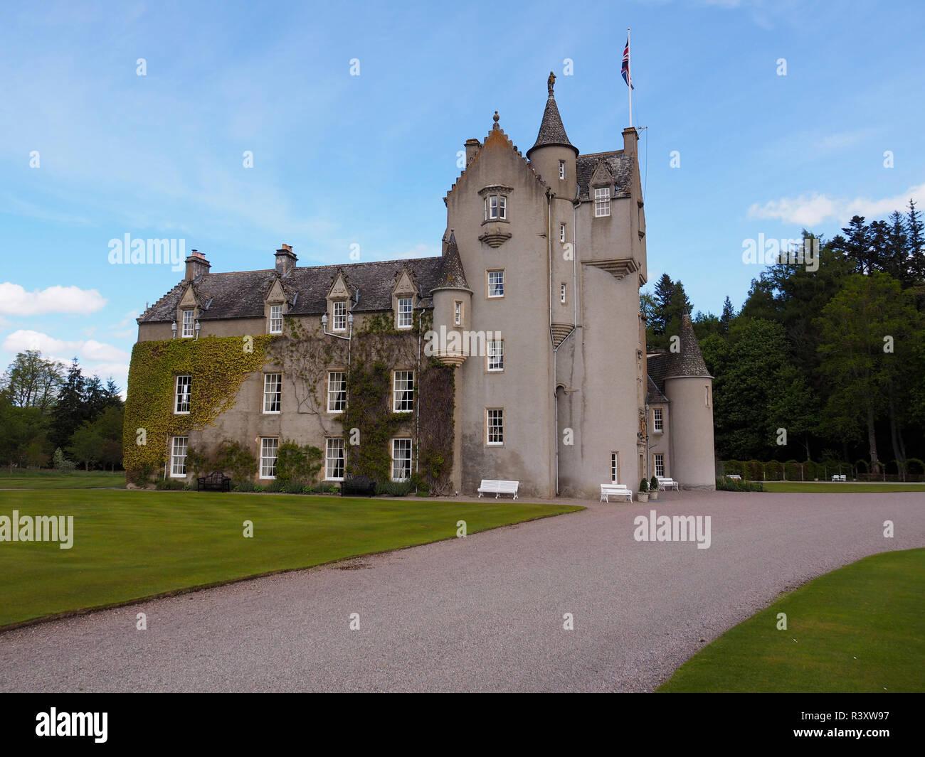 Ballindalloch Castle Scottish Highlands rear view - Stock Image