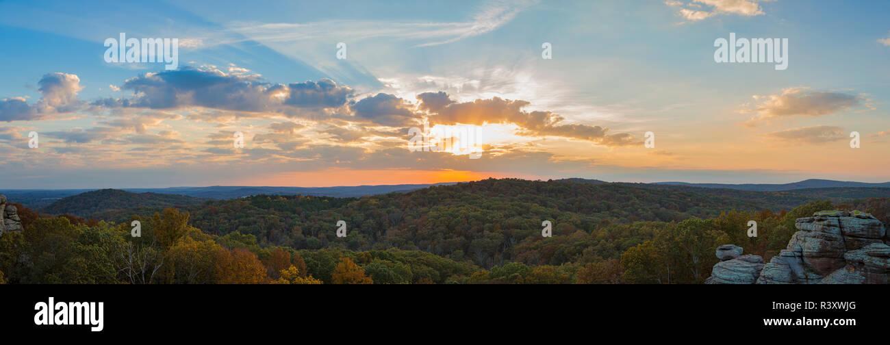 Sunset at Garden of the Gods Recreation Area, Shawnee National Forest, Illinois - Stock Image