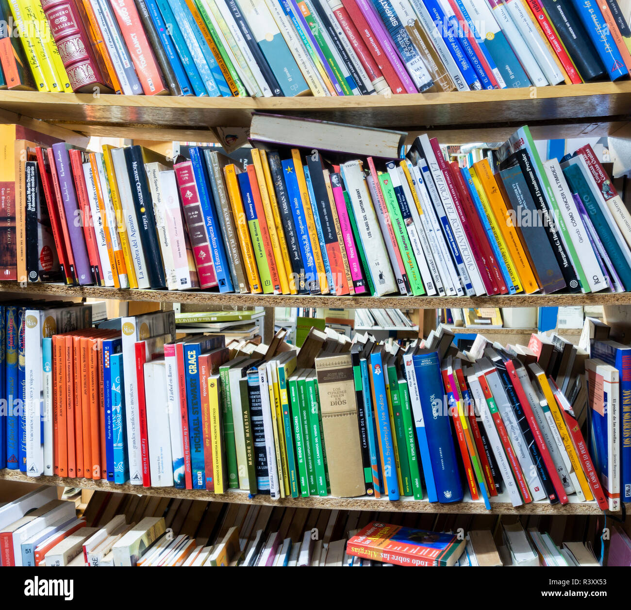 secondhand books in charity shop - Stock Image