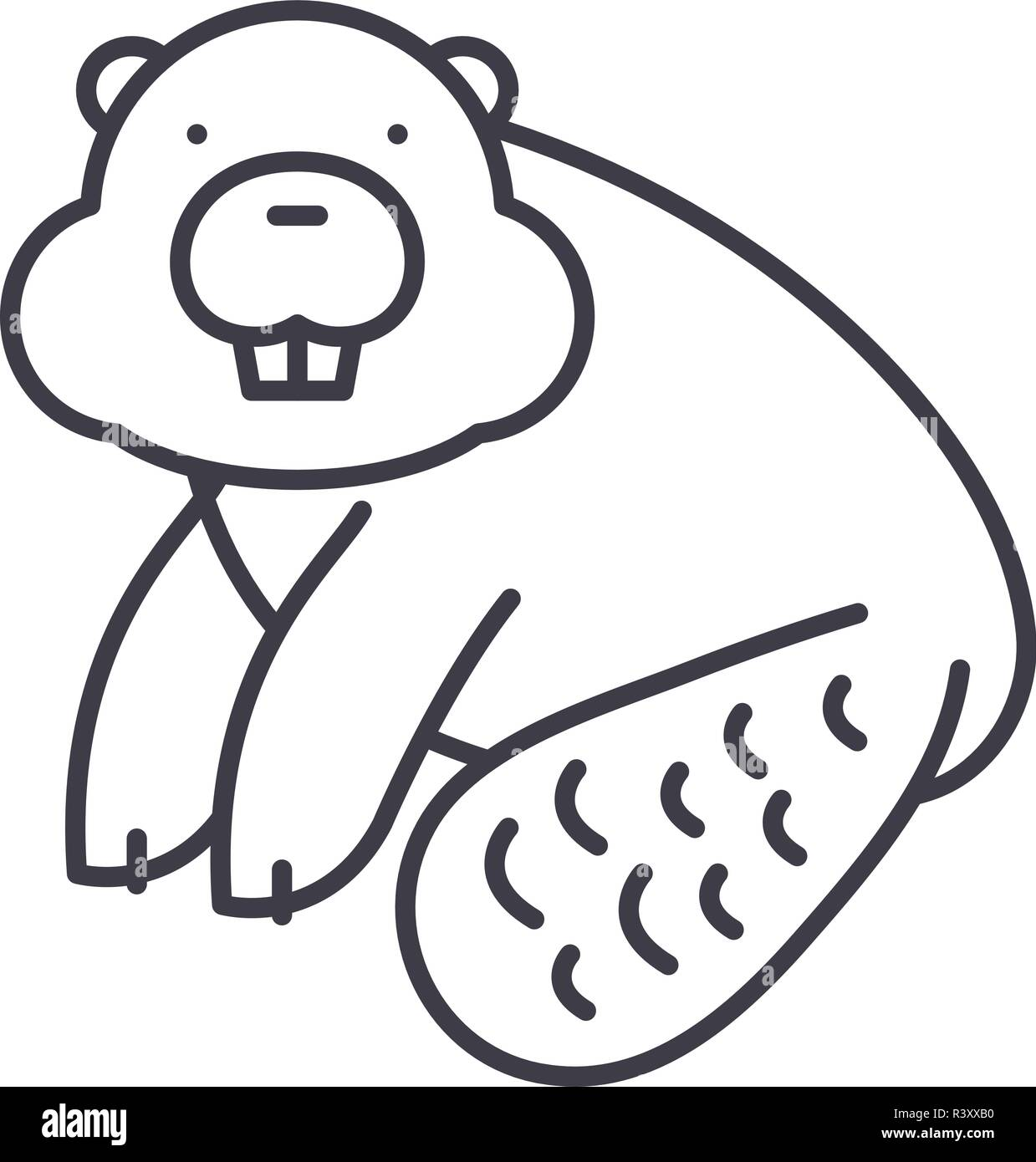 Beaver line icon concept. Beaver vector linear illustration, symbol, sign - Stock Image