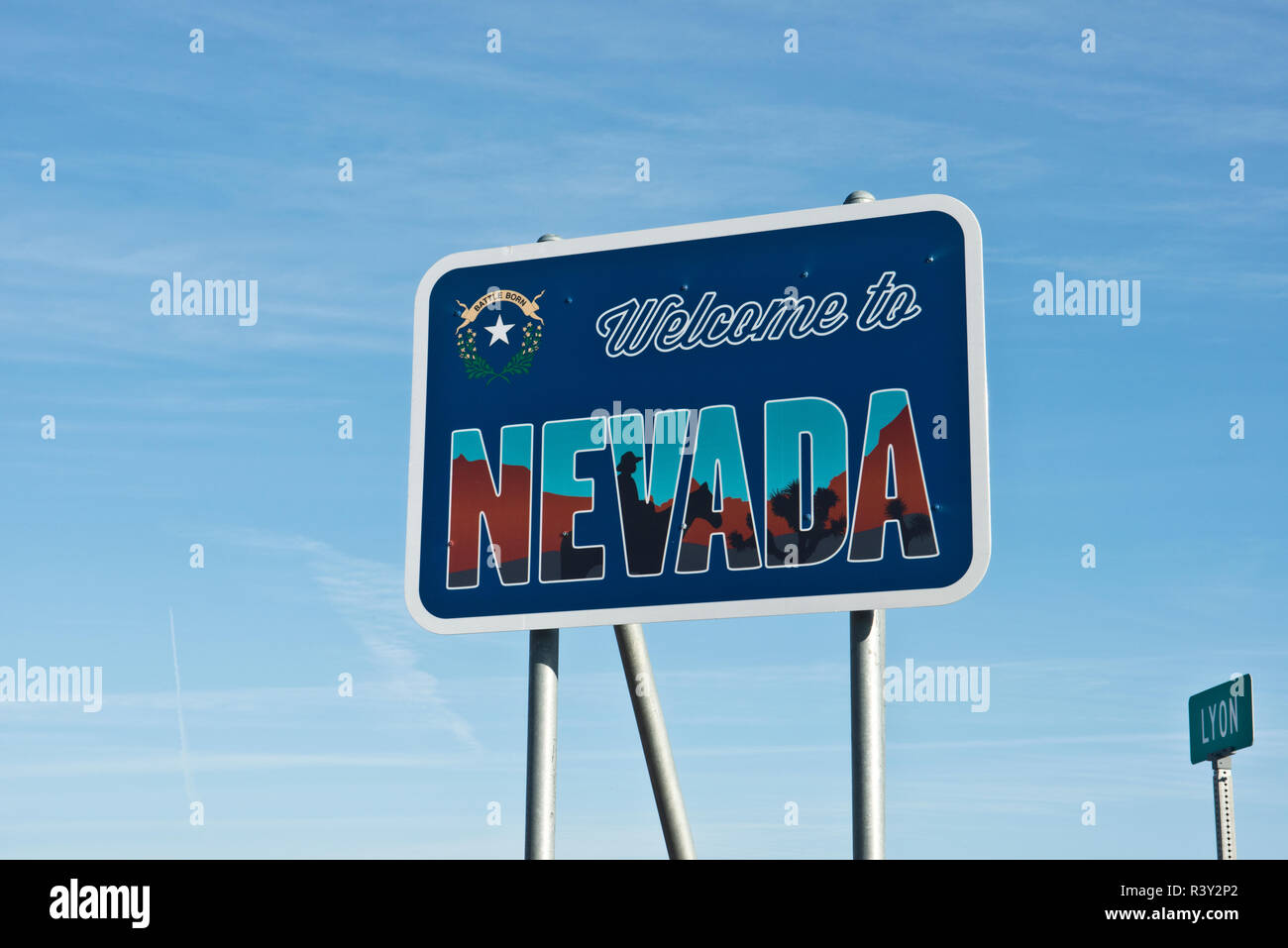 USA, Nevada. Roadside 'Welcome' sign - Stock Image