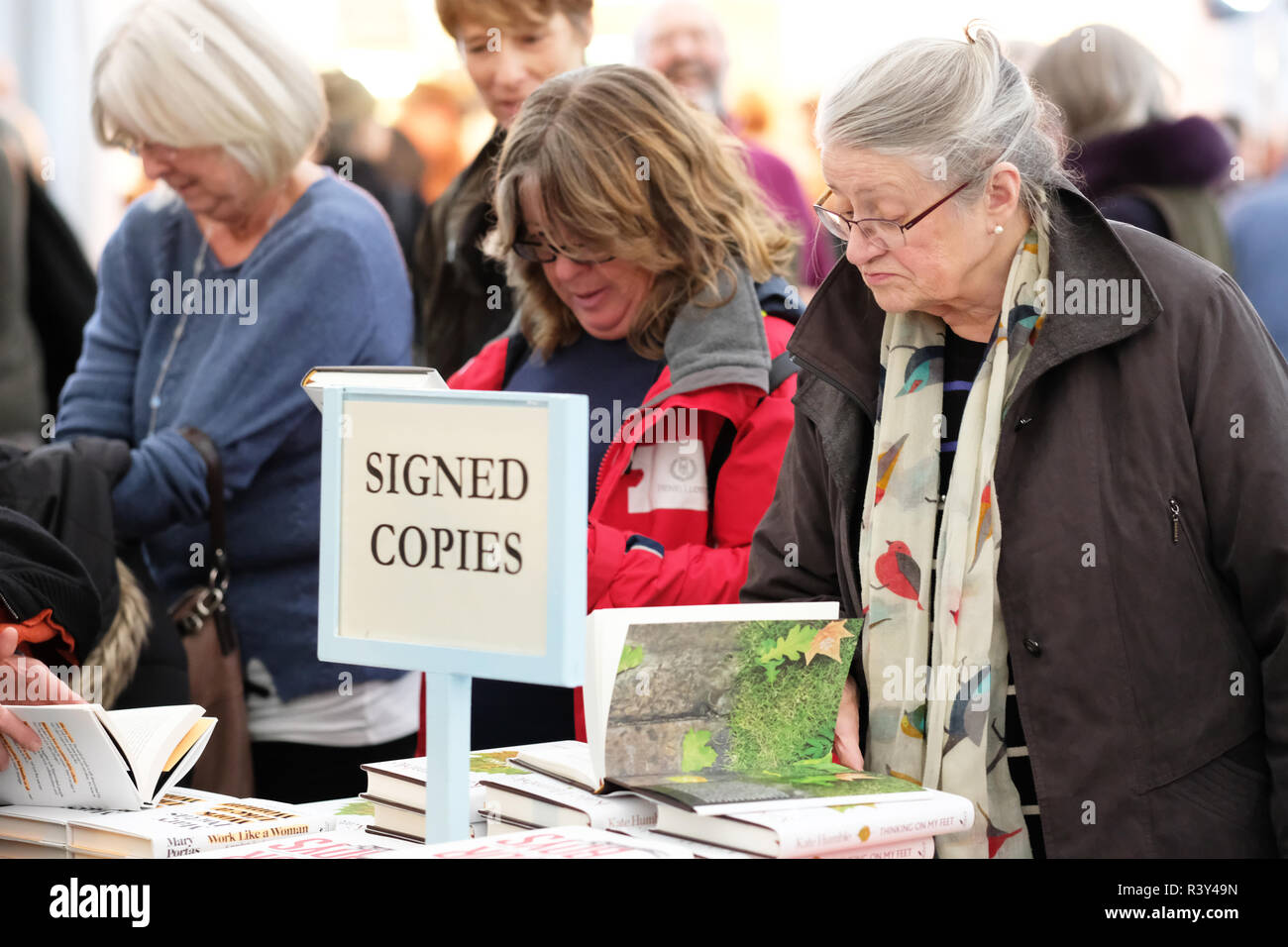 Hay Festival Winter Weekend, Hay on Wye, Wales, UK - Saturday 24th November 2018 - Visitors browse the new books and signed copies in the Festival bookshop - this years Hay Festival Winter Weekend features over 40 events and sessions - Photo Steven May / Alamy Live News - Stock Image