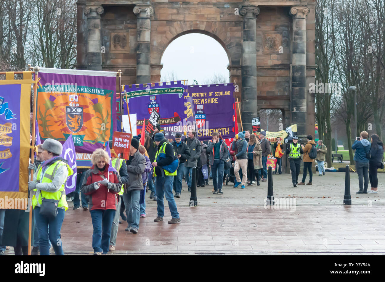 Glasgow, Scotland, UK. 24th November, 2018: Anti-racism campaigners march through the streets of the city from Glasgow Green to Bath Street. The event was organised by the Scottish Trades Union Congress, STUC.  The theme of the march is Still We Rise,  Internationalism, Freedom and Justice. The march was led by the leader of the Scottish Labour Party Richard Leonard MSP, Anas Sarwar MSP, Human Rights Lawyer Aamer Anwar and the family of Sheku Bayoh. Credit: Skully/Alamy Live News - Stock Image