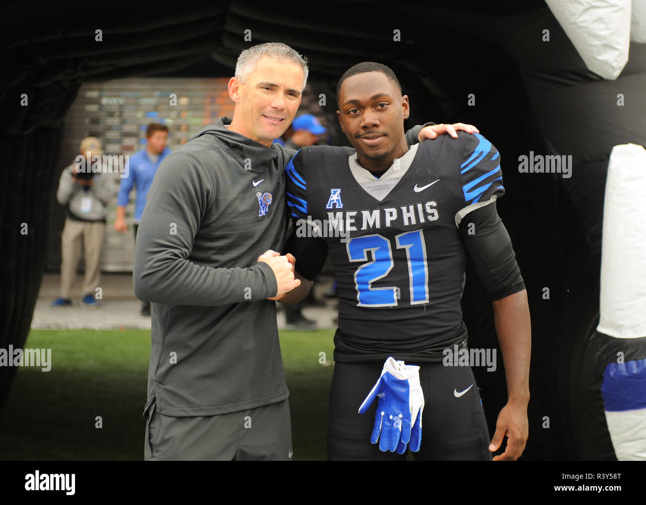Memphis Tn Usa 23rd Nov 2018 Memphis Tigers Head Coach Mike Norvell Left Poses With Defensive Back Ross Anderson 21 Prior To The Ncaa Division I Football Game Between The University Of