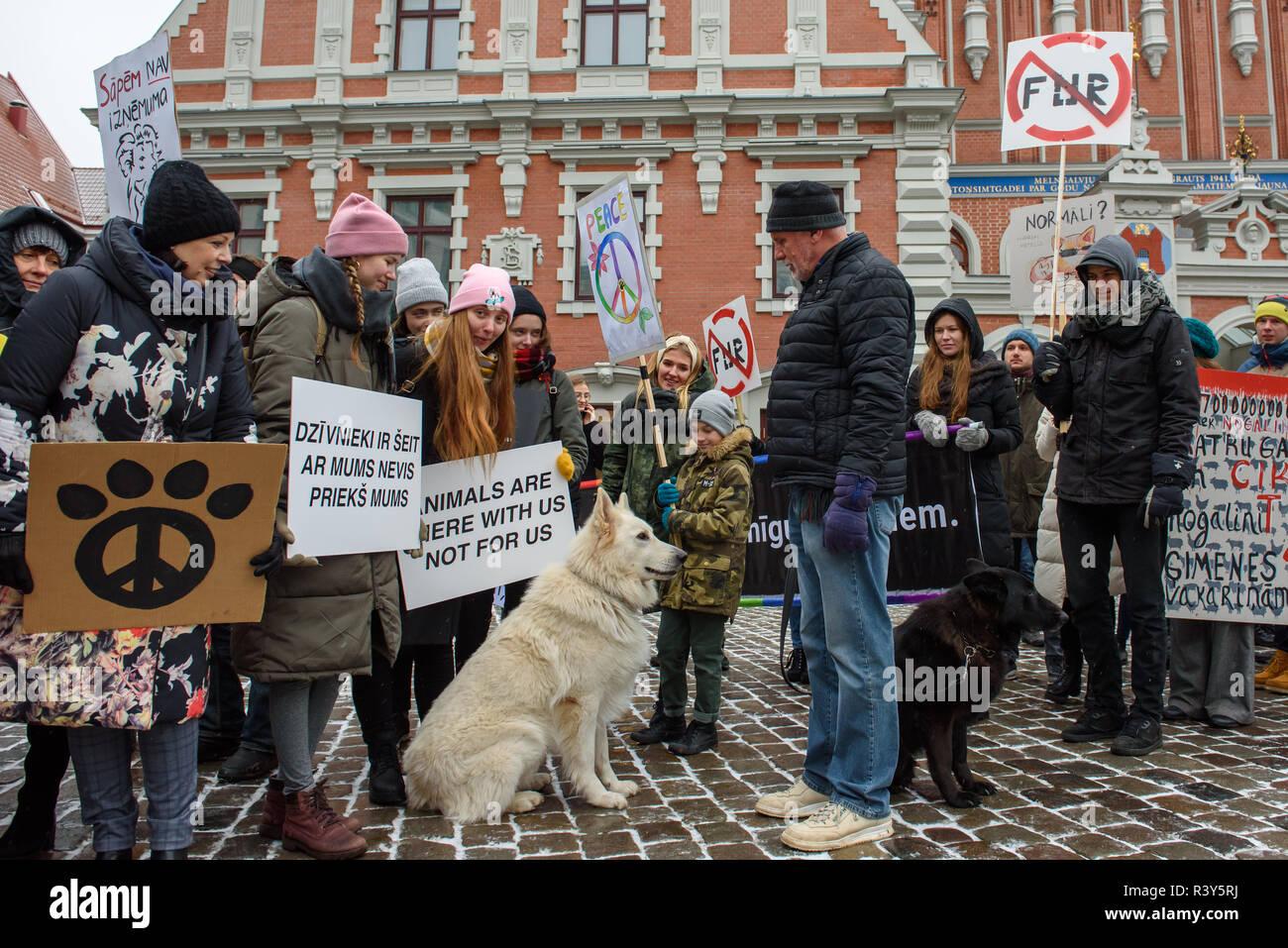 Riga, Latvia  24th Nov 2018  March for animals in Riga