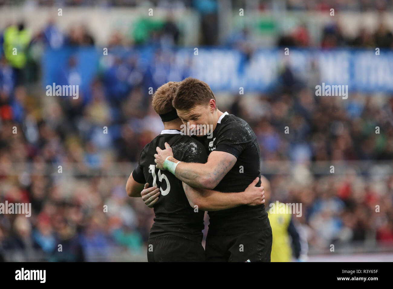 Roma, Italy. 24th November, 2018. All Blacks' fly half Beauden Barrett celebrates the try with his team mate Damian McKenzie in the match against Italy in November Cattolica Test Match 2018 Credit: Massimiliano Carnabuci/Alamy Live News - Stock Image