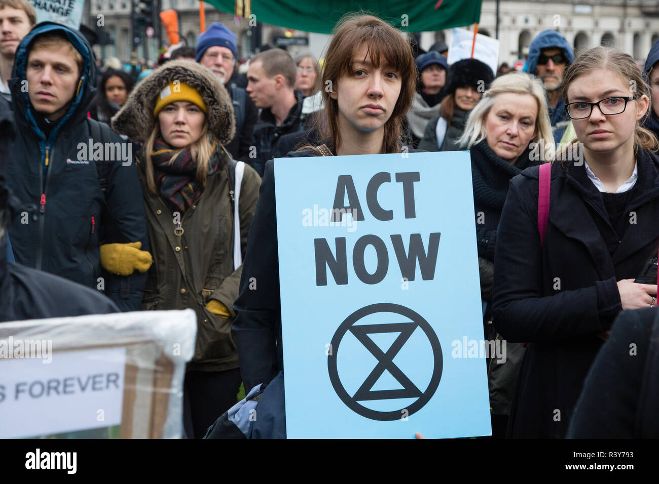 London UK 24th November 2018  Protesters carry signs during a climate change protest. Credit: Thabo Jaiyesimi/Alamy Live News Stock Photo