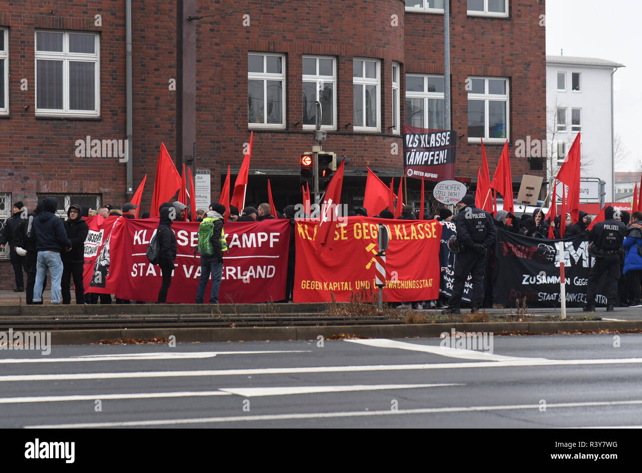 Magdeburg, Germany - November 24, 2018: In Magdeburg, 1000 supporters of a left-wing alliance demonstrated against stricter police laws in Germany. Participants in the demonstration, which lasted several hours, included anti-age groups, climate activists and trade union representatives. Credit: Mattis Kaminer/Alamy Live News - Stock Image