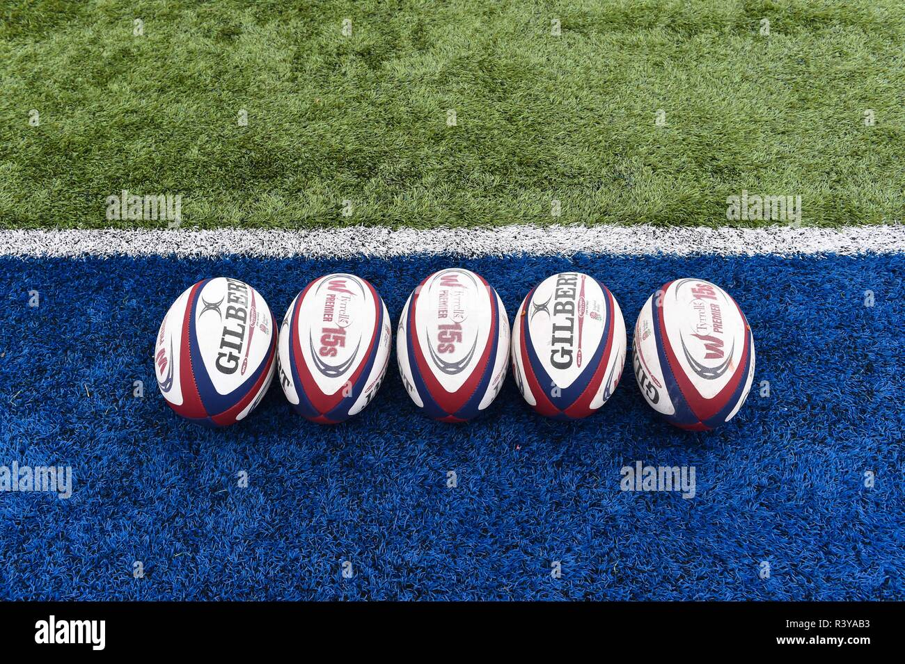 London, UK. 24th Nov 2018. The official match ball during Tyrrells Premier 15s League - Saracens Women against Loughborough Lightning at Allianz Park on Saturday, 24 November 2018. LONDON ENGLAND.  (Editorial use only, license required for commercial use. No use in betting, games or a single club/league/player publications.) Credit: Taka G Wu/Alamy Live News Stock Photo