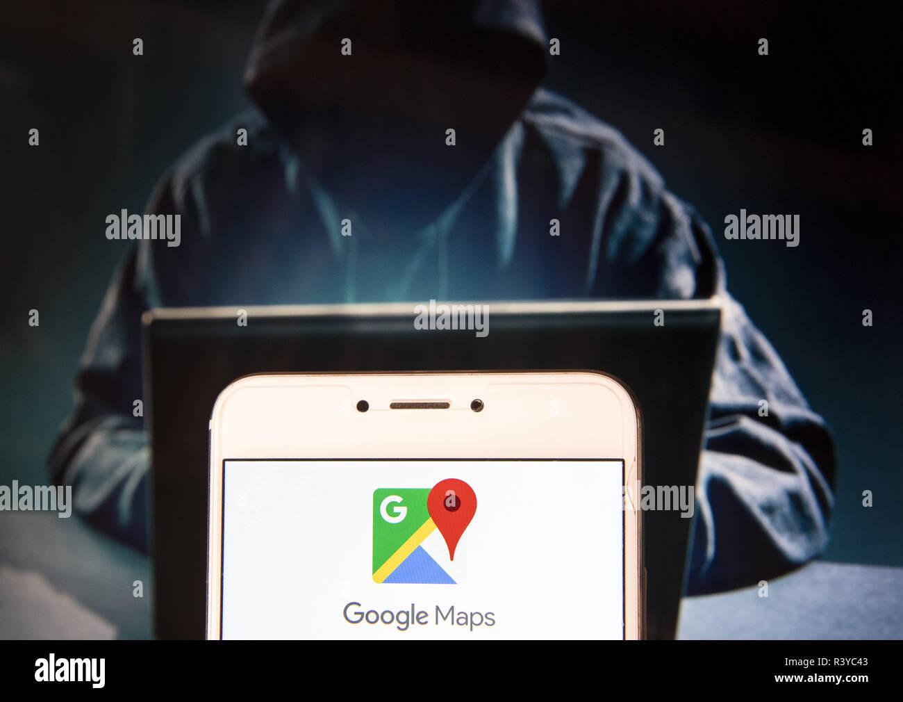 Hong Kong Map Service Hong Kong. 22nd Nov, 2018. Web mapping service website and app