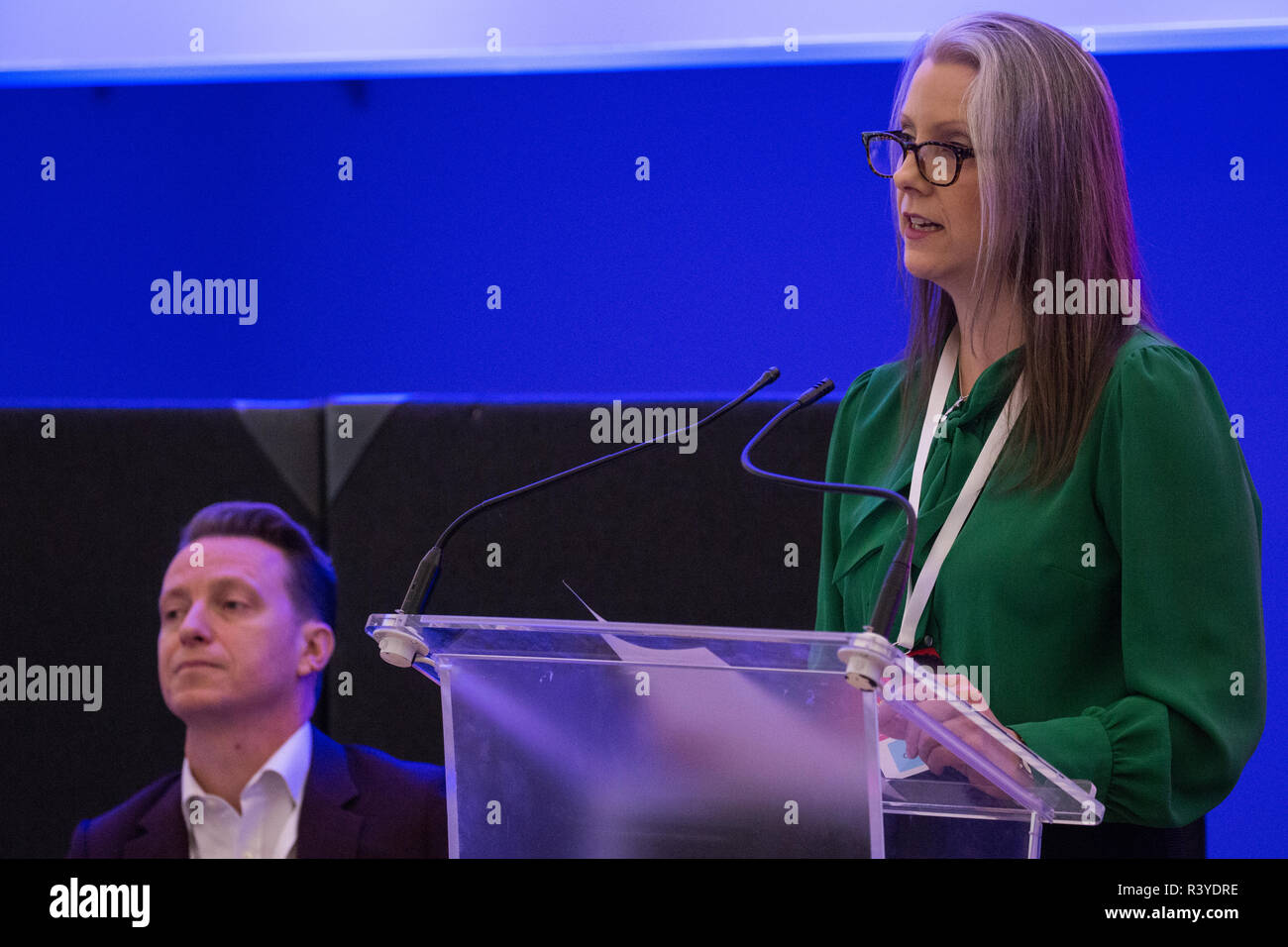 London, UK. 24th November, 2018. Carla Burns, candidate for Renew UK, a new centrist political party launched in February 2018, addresses its inaugural National Assembly at Westminster Central Hall. Renew UK, led by Leaders Annabel Mullin and James Torrance and Deputy Leader James Clarke, has signed up 100 candidates ready to stand in future UK elections based on a wide-ranging programme of reform. Credit: Mark Kerrison/Alamy Live News - Stock Image