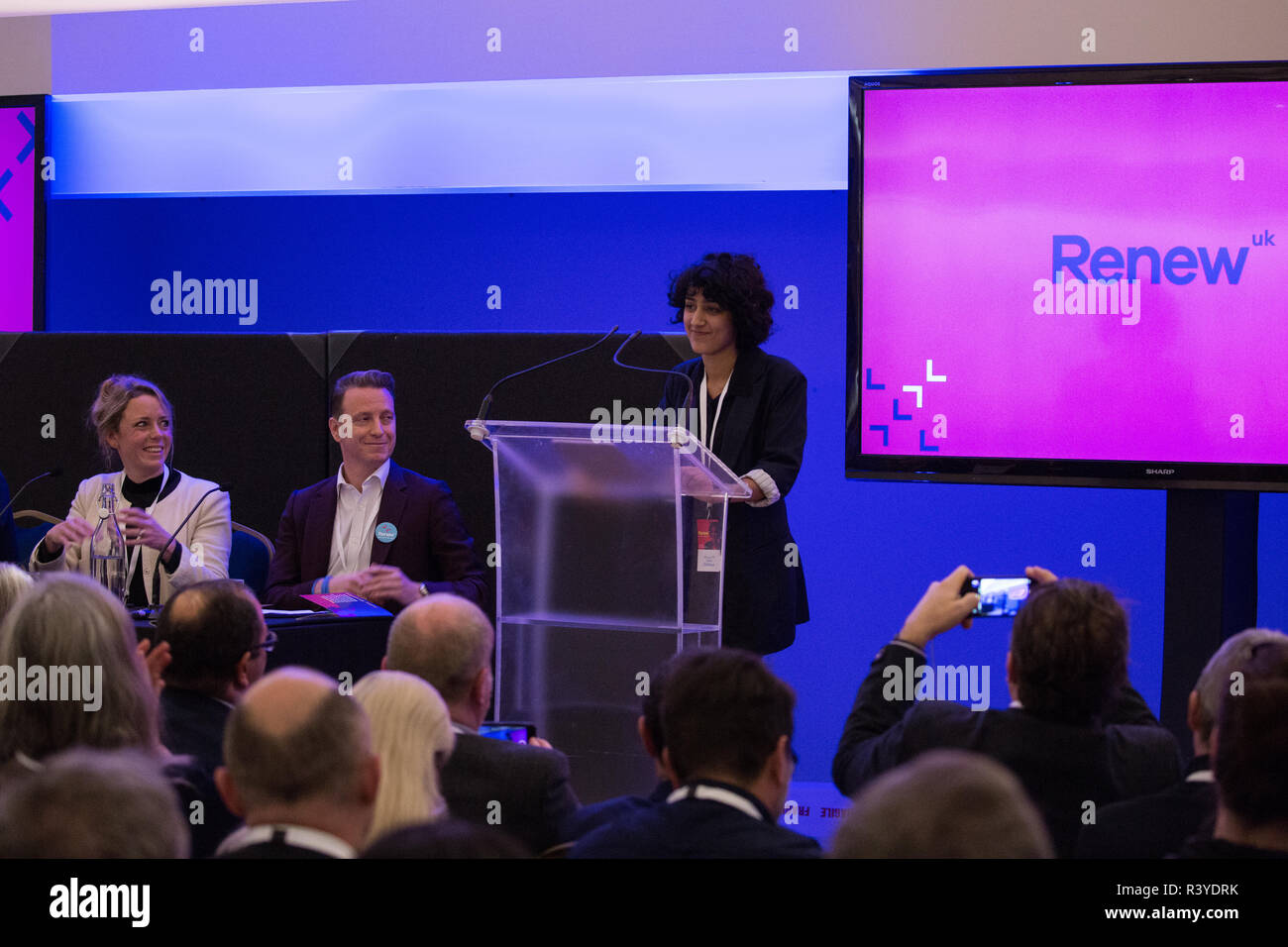 London, UK. 24th November, 2018. Zara Sadiq, candidate for Renew UK, a new centrist political party launched in February 2018, addresses its inaugural National Assembly at Westminster Central Hall. Renew UK, led by Leaders Annabel Mullin and James Torrance and Deputy Leader James Clarke, has signed up 100 candidates ready to stand in future UK elections based on a wide-ranging programme of reform. Credit: Mark Kerrison/Alamy Live News - Stock Image