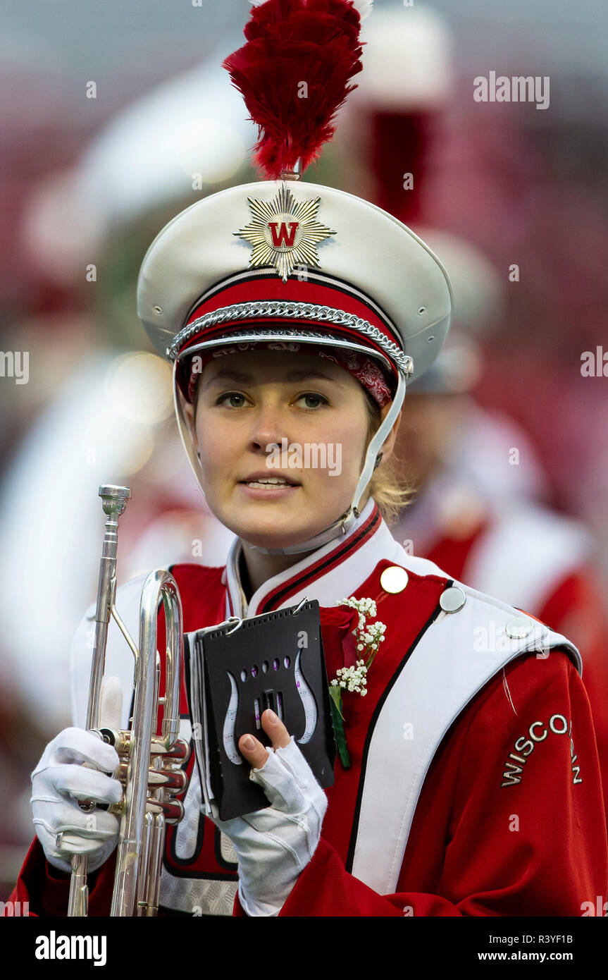 Madison, WI, USA. 24th Nov, 2018. Wisconsin band member before the NCAA Football game between the Minnesota Golden Gophers and the Wisconsin Badgers at Camp Randall Stadium in Madison, WI. John Fisher/CSM/Alamy Live News - Stock Image