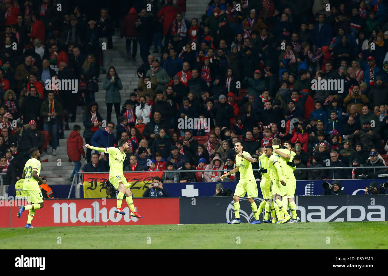 Ousmane Dembele (FC Barcelona) seen celebrating after scoring a goal  during the Spanish La Liga match between Atletico Madrid and Barcelona at the Wanda Metropolitano Stadium in Madrid. (Final score; Atletico Madrid 1:1 Barcelona FC) - Stock Image