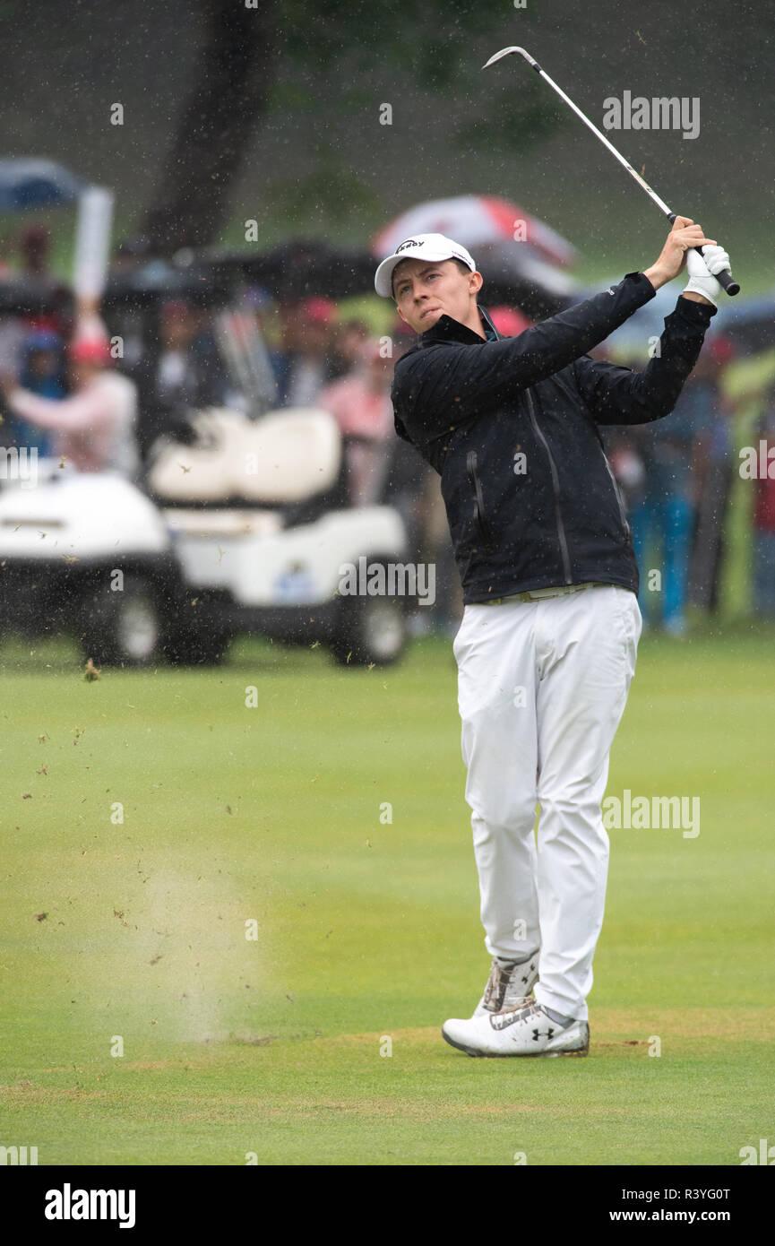 HONG KONG, HONG KONG SAR,CHINA. November 25th, 2018. Final round of the Honma Hong Kong Open Golf 2018 at Hong Kong Golf Club Fanling. Englishman Matthew Fitzpatrick hits off the fairway of the 3rd hole.Jayne Russell/ Alamy Live News - Stock Image