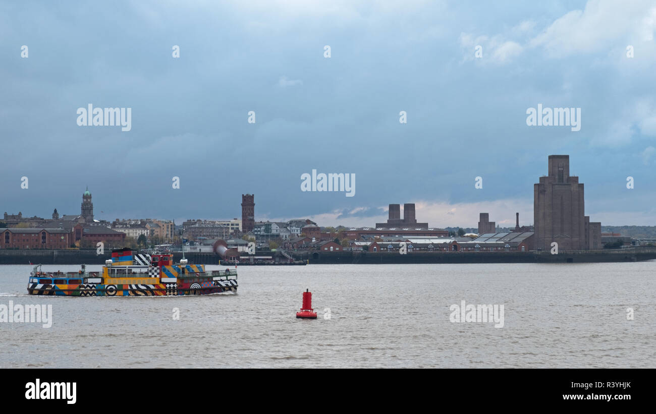 LIVERPOOL, ENGLAND - NOVEMBER 6, 2018:  A passenger ferry crossing the river Mersey from Liverpool to the Wirral peninsula - Stock Image