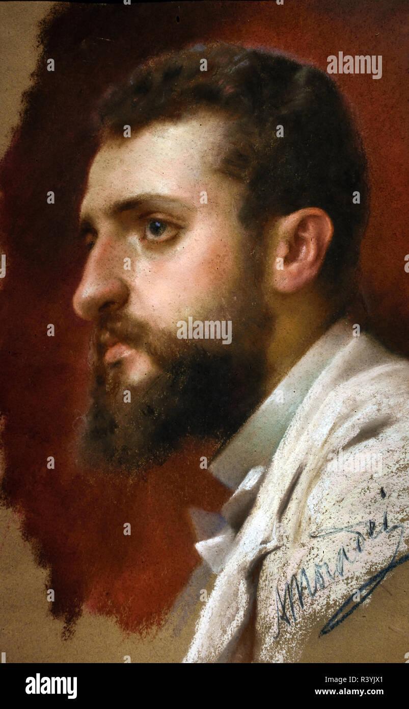 Portrait of Vittorio Guaccimanni  by Arturo Moradei 1840-1901 Italy, Italian. - Stock Image