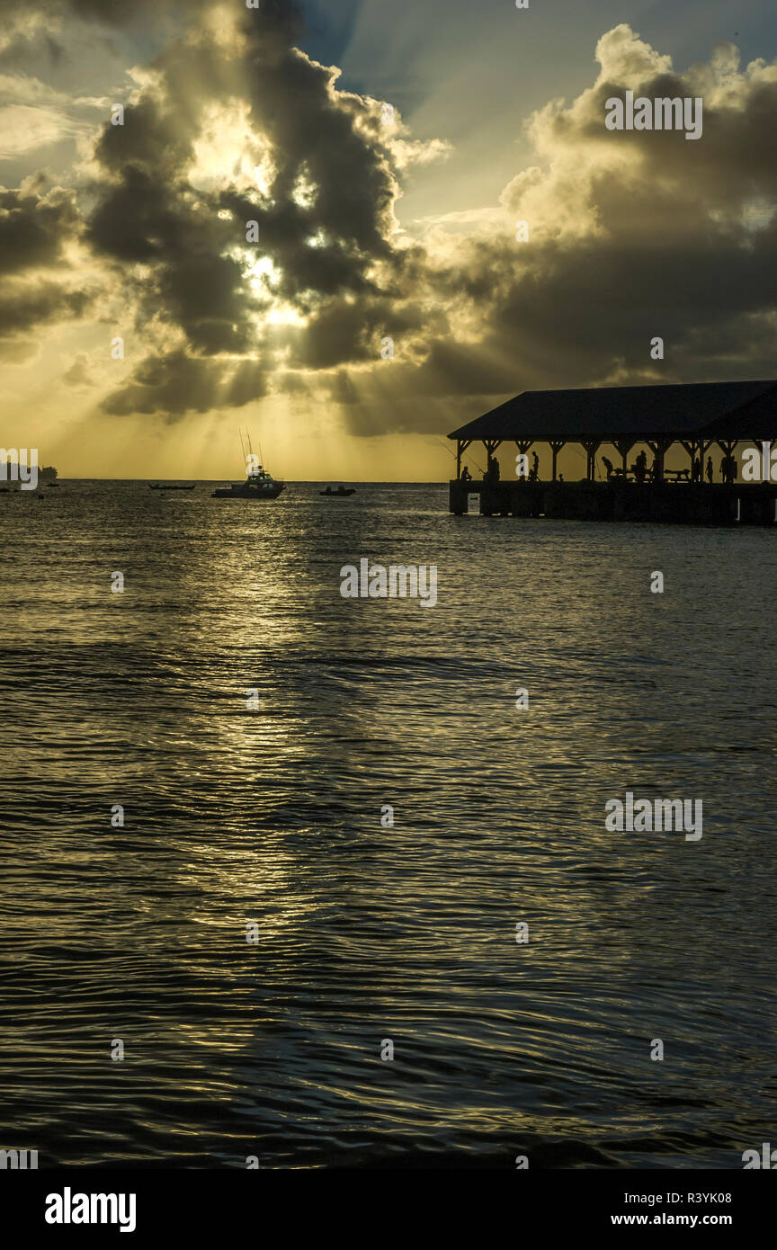Hanalei Bay, Hanalei Pier, Hawaii, Kauai, boats, clouds, sunset Stock Photo