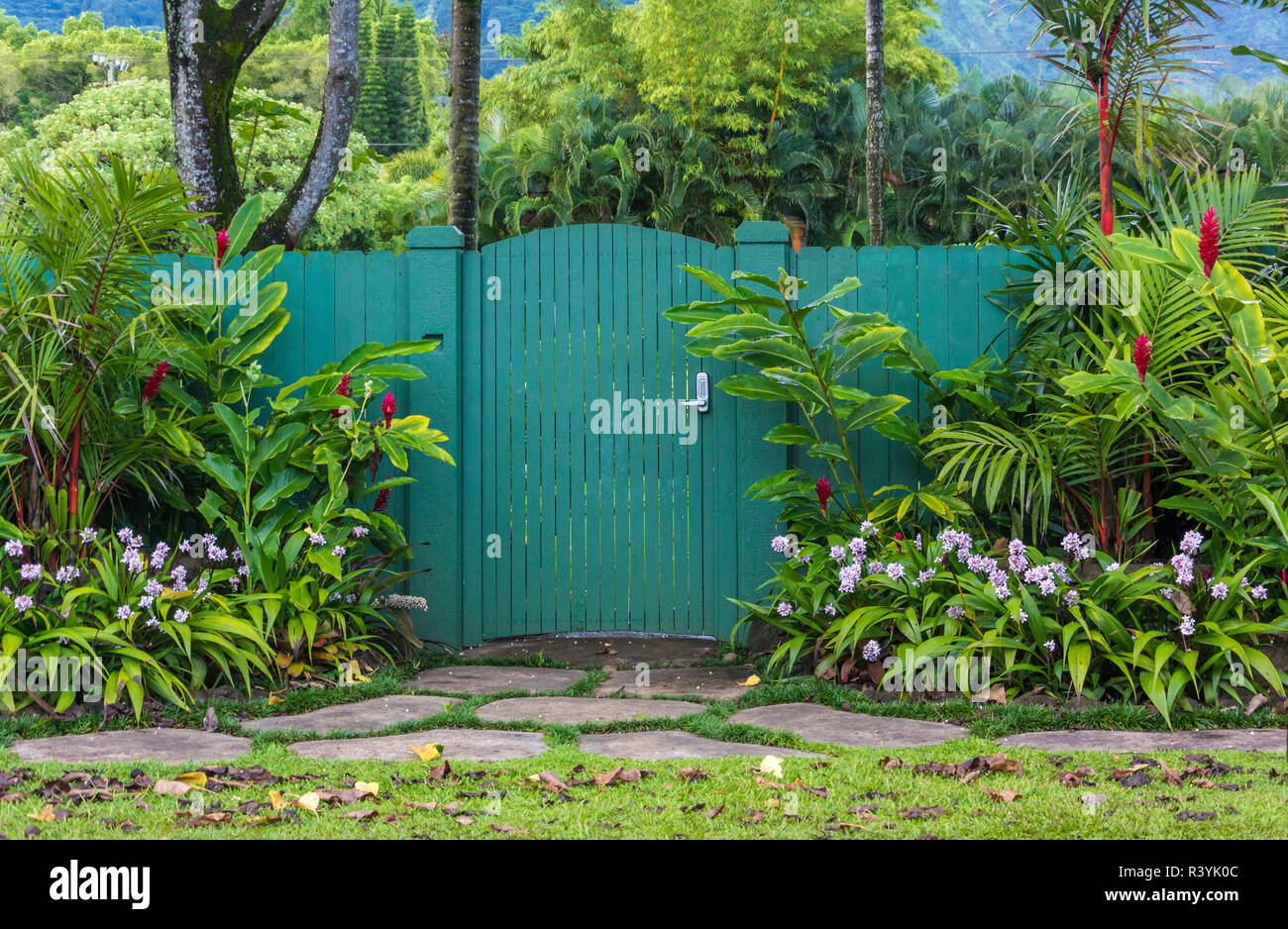 Hanalei, Hawaii, Kauai, flowers, green gate Stock Photo