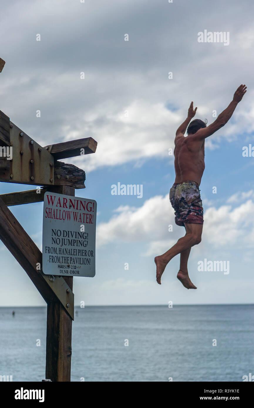 Man jumping. (MR) Stock Photo