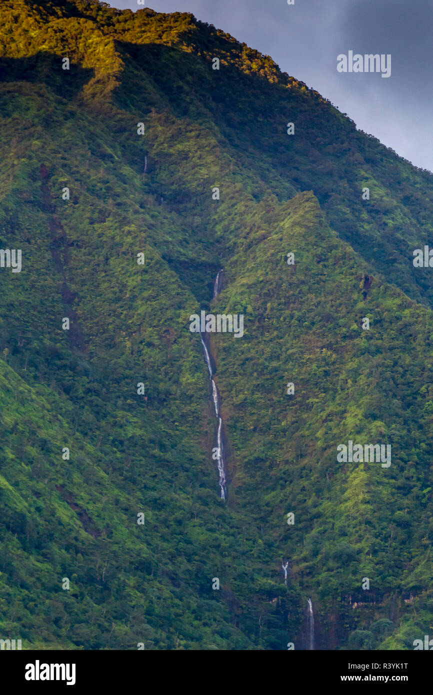Hanalei Bay, Hawaii, Kauai, waterfall Stock Photo
