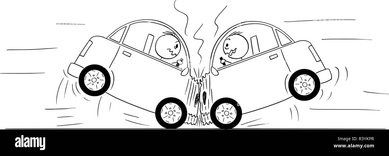 Cartoon Drawing of Two Cars Crash Accident - Stock Vector