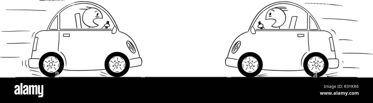 Cartoon Drawing od Two Cars Driving Against Each Other Just Moments Before Head-on Collision Crash Accident Stock Vector