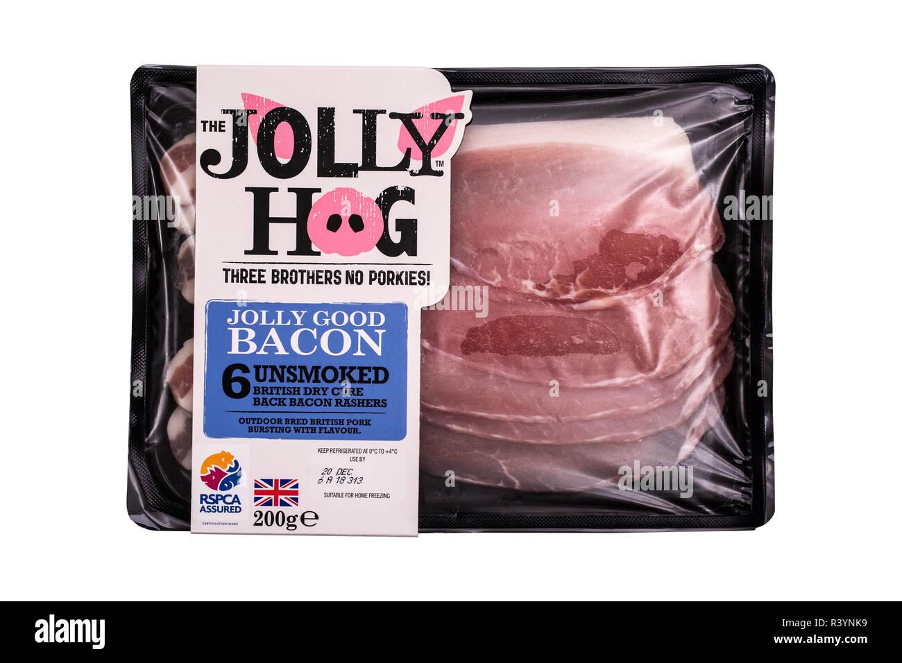 SWINDON, UK - NOVEMBER 18, 2018: The Jolly Hog unsmoked british dry cure back bacon rashers on a white background - Stock Image