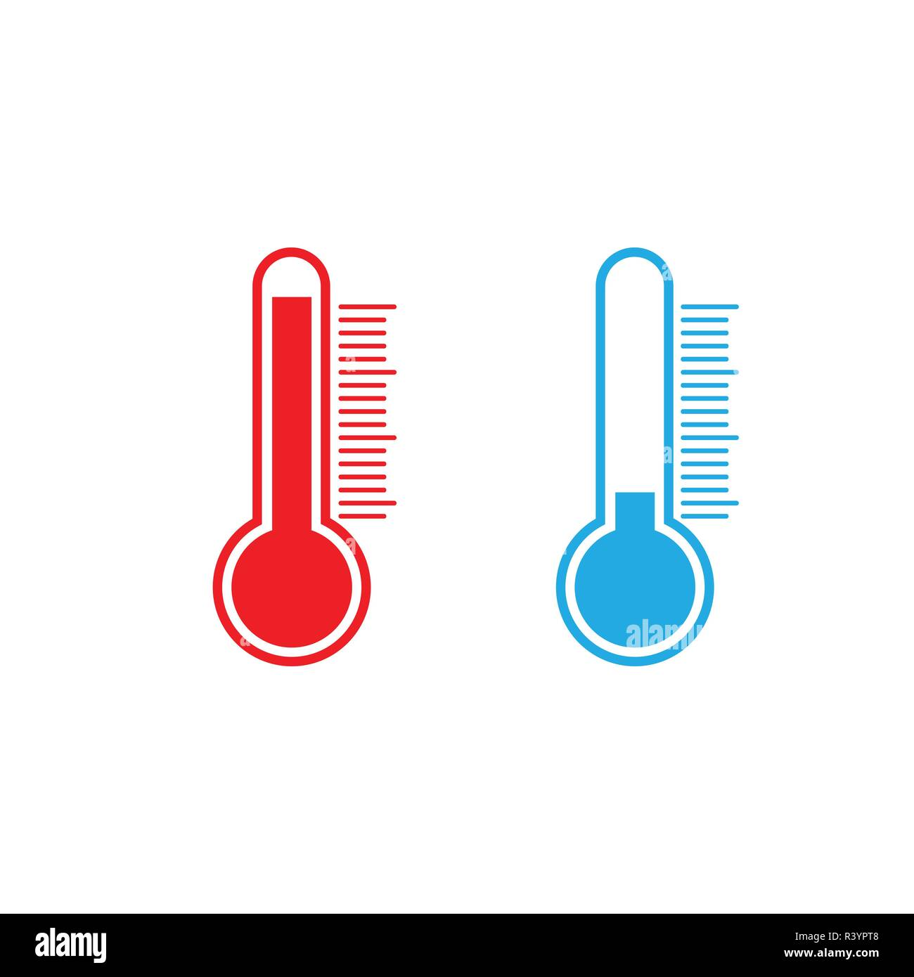 Thermometer icon, vector illustration. Cold Hot weather Flat - Stock Vector
