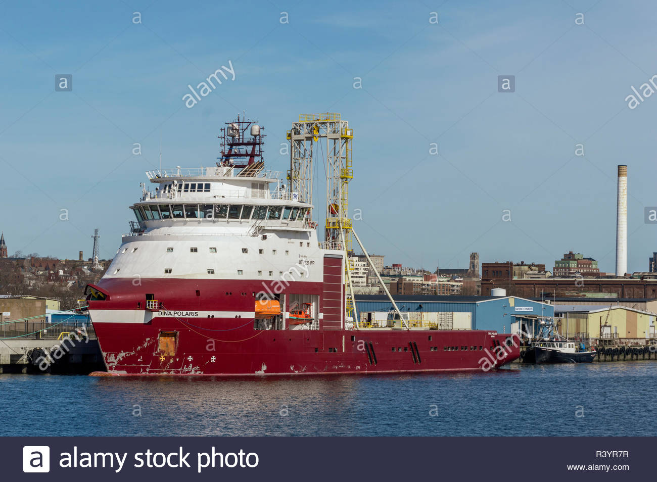 New Bedford, MA, USA - April 24, 2018: Geotechnical drilling vessel Dina Polaris, hailing port Bergen, Norway, docked at planned New Bedford terminal - Stock Image