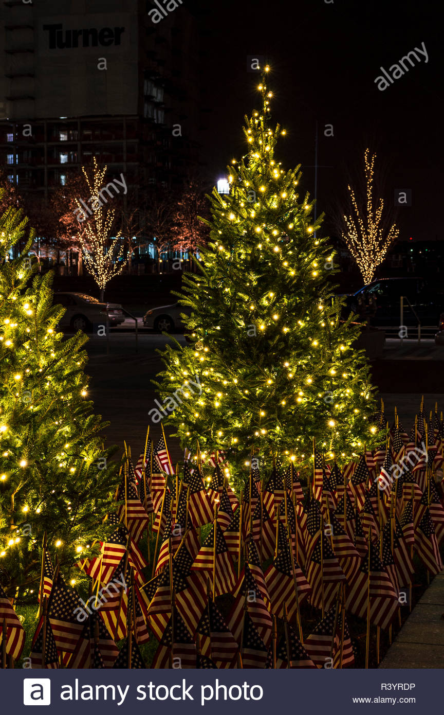 South Boston, Massachusetts, USA - December 22, 2016: Lighted trees and American flags serve as holiday memorial along Seaport Boulevard in South Bost - Stock Image