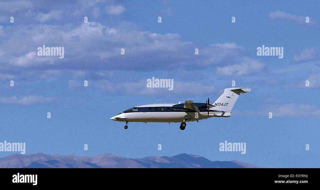 Avanti SPA P180 Turboprop Airpkane Landing at Las Vegas - Stock Image