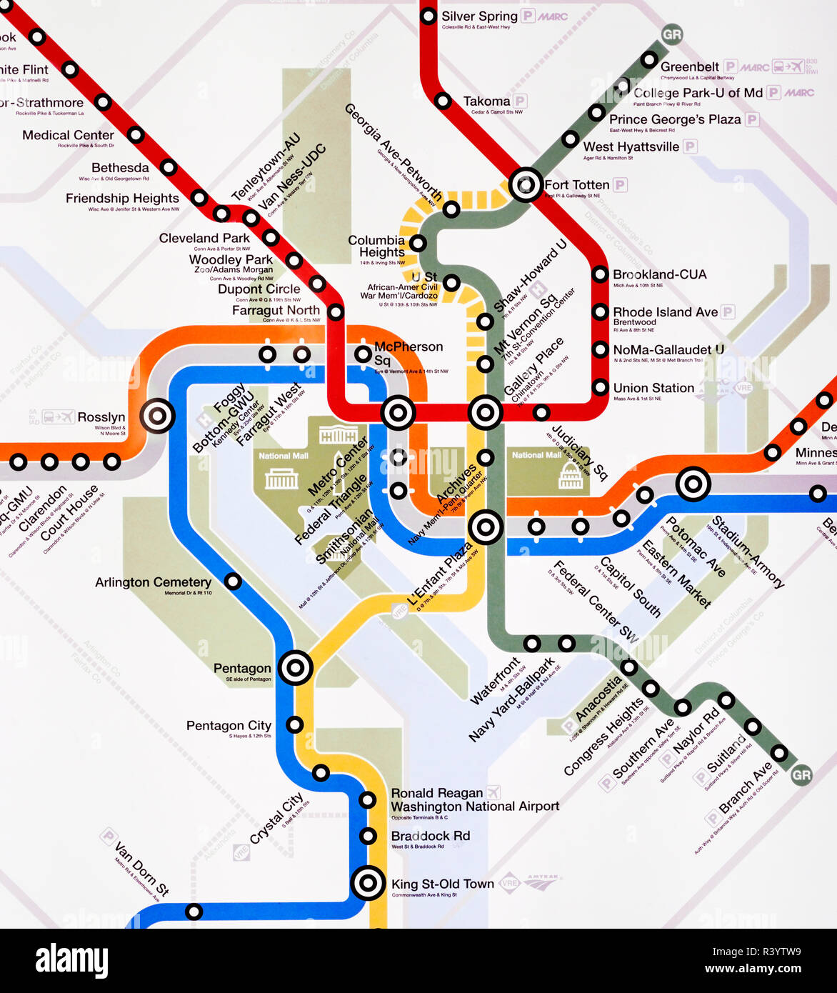 Washington DC subway map Metro - Stock Image