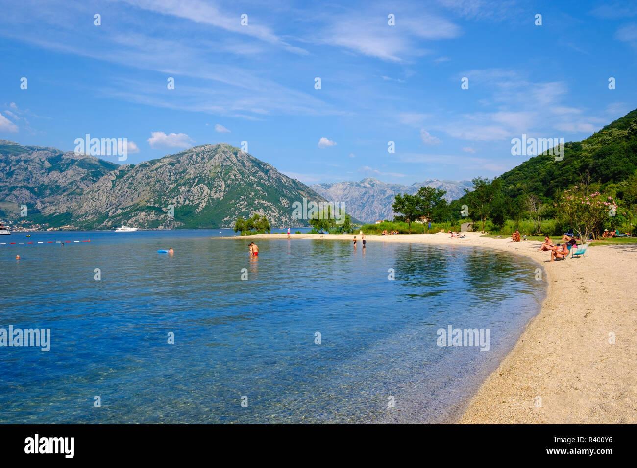 Bathing Beach In Donji Morinj Bay Of Kotor Montenegro Stock